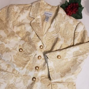 Jaclyn Smith Gold Shimmer Floral Buttoned Blazer